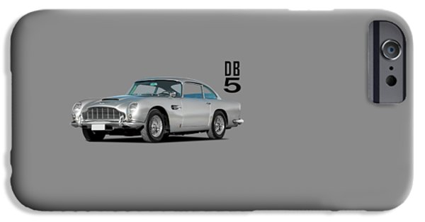 Racing Cars iPhone Cases - Aston Martin DB5 iPhone Case by Mark Rogan