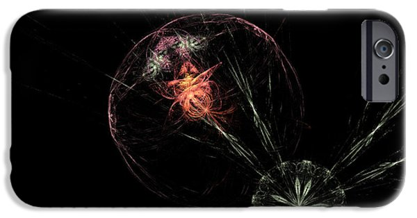 Graphic Design iPhone Cases - Astract Flower in Space Motif iPhone Case by Ronel Broderick