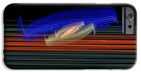 Graphic Design iPhone Cases - Astract Line Motif on Black iPhone Case by Ronel Broderick