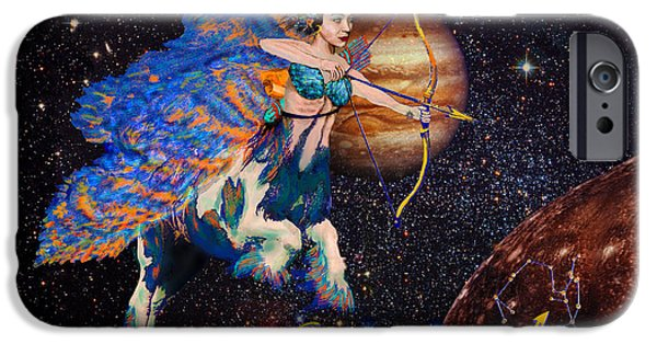 Night Angel iPhone Cases - Astrology Sagittarius Angel  iPhone Case by Michele  Avanti