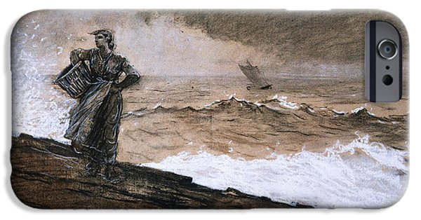 Sailboats iPhone Cases - At High Sea iPhone Case by Winslow Homer