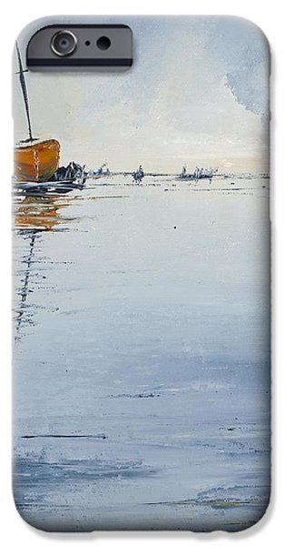 Sailboats iPhone Cases - At Rest iPhone Case by Carolyn Doe
