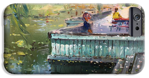 People iPhone Cases - At the Park by the Water iPhone Case by Ylli Haruni