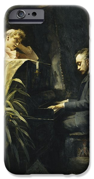 Piano iPhone Cases - At the Piano iPhone Case by Emma Sparre