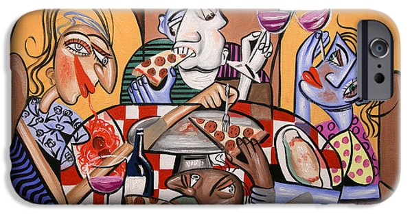 Canvas Wine Prints iPhone Cases - At The Pizzeria iPhone Case by Anthony Falbo