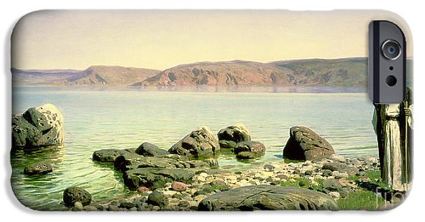Middle East iPhone Cases - At the Sea of Galilee iPhone Case by Vasilij Dmitrievich Polenov