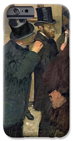 Business Paintings iPhone Cases - At the Stock Exchange iPhone Case by Edgar Degas