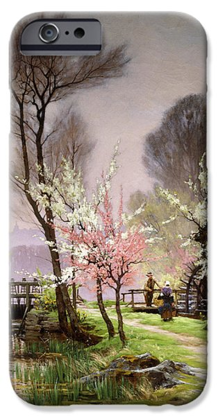 Recently Sold -  - Couple iPhone Cases - At the Watermill   Spring iPhone Case by Henri Saintain