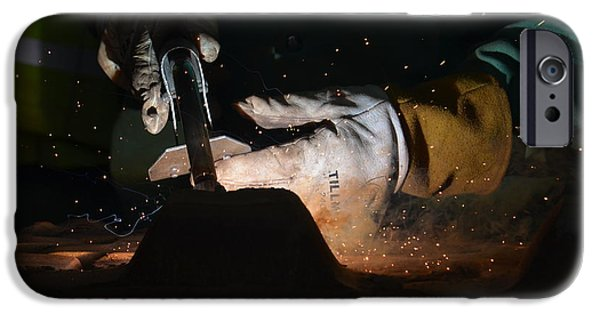 Industry iPhone Cases - At the Welders Hand iPhone Case by Maria Urso