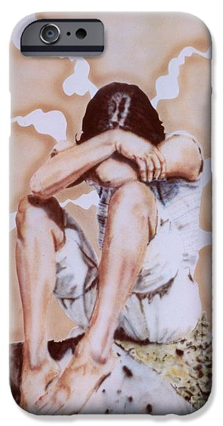 Airbrush iPhone Cases - Athabaskan Girl on a Rock iPhone Case by Ron Bissett