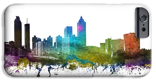 Colour Drawings iPhone Cases - Atlanta Cityscape 01 iPhone Case by Aged Pixel