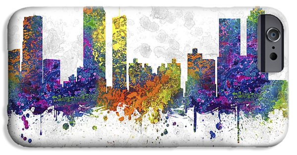 Recently Sold -  - United iPhone Cases - Atlanta Georgia Skyline Color 03SQ iPhone Case by Aged Pixel