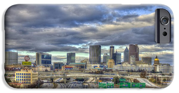 Bank Of America iPhone Cases - Atlanta South Looking North Skyline  iPhone Case by Reid Callaway