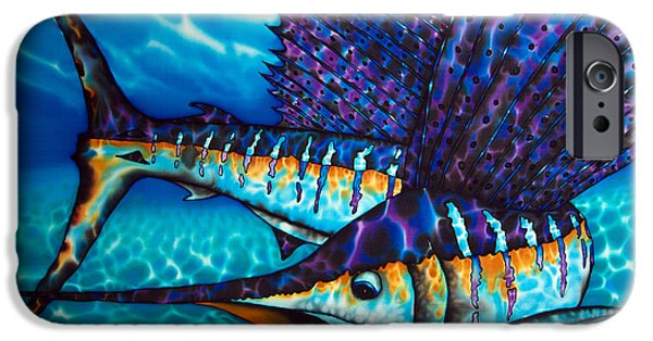 Abstracts Tapestries - Textiles iPhone Cases - Atlantic Sailfish iPhone Case by Daniel Jean-Baptiste