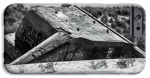 Beach iPhone Cases - Atlantic Wall Bunker iPhone Case by Wim Lanclus