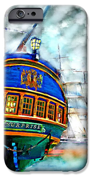 Tall Ship iPhone Cases - Attack in the Fog iPhone Case by Tim Tompkins