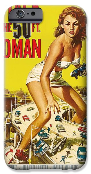1950s Movies Mixed Media iPhone Cases - Attack Of The 50 Ft Woman 1958 iPhone Case by Mountain Dreams