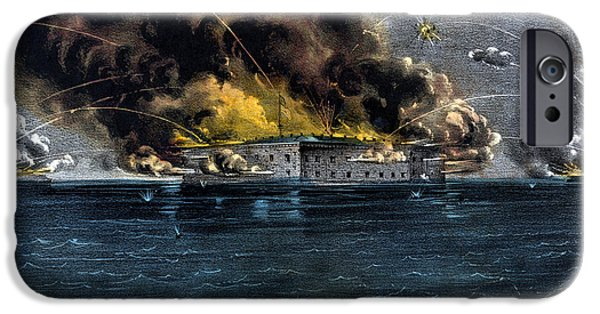 American History Mixed Media iPhone Cases - Attack On Fort Sumter iPhone Case by War Is Hell Store