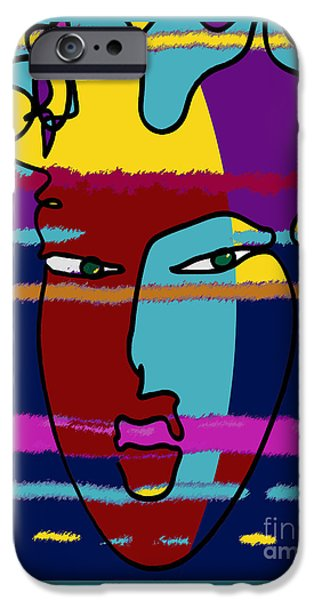 Abstract Digital Drawings iPhone Cases - Attraction Copyright Theo J Huckins 2015 TJH_1045i 001ej iPhone Case by Theo J Huckins