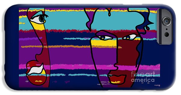 Abstract Digital Drawings iPhone Cases - Attraction  Copyright Theo J Huckins 2015 TJH_1101y_1048a_001k iPhone Case by Theo J Huckins