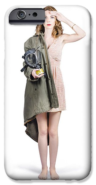 Patriots iPhone Cases - Attractive young Australian army pinup woman iPhone Case by Ryan Jorgensen