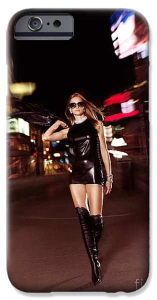 Attractive Young Woman Walking Down the Street at Night iPhone Case by Oleksiy Maksymenko