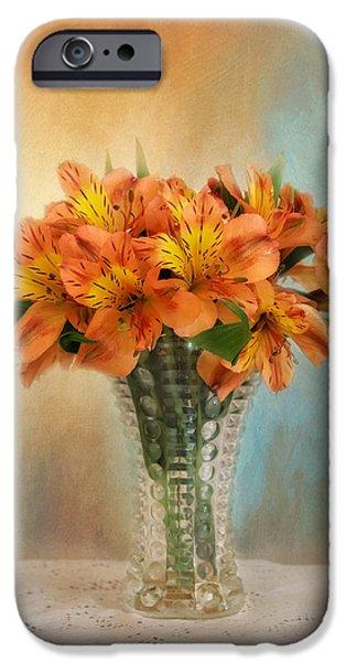 Floral Photographs iPhone Cases - Autumn Alstroemeria Flowers iPhone Case by Kim Hojnacki