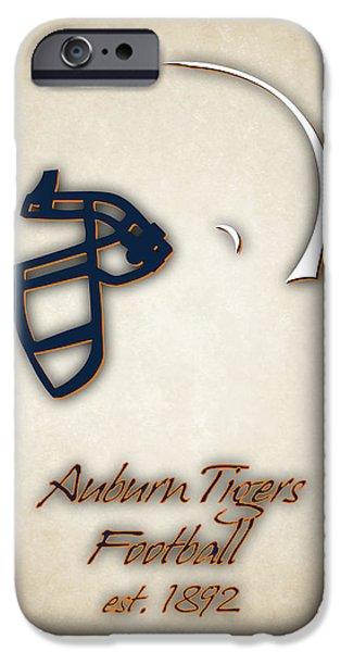 Dunk iPhone Cases - Auburn Tigers Helmet 2 iPhone Case by Joe Hamilton