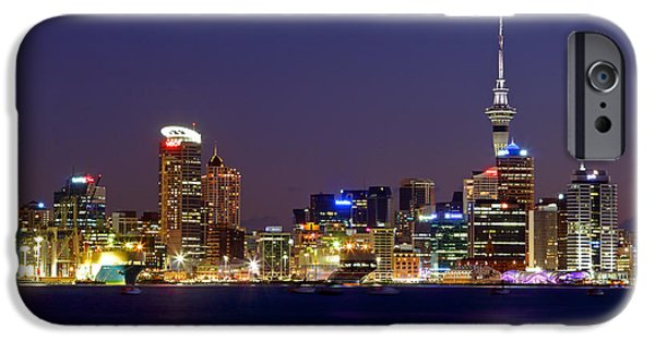 Business Photographs iPhone Cases - Auckland Skyline at Dusk iPhone Case by Nicholas Blackwell