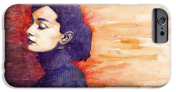Realism iPhone Cases - Audrey Hepburn 1 iPhone Case by Yuriy  Shevchuk