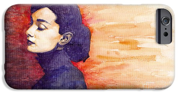 Figurativ iPhone Cases - Audrey Hepburn 1 iPhone Case by Yuriy  Shevchuk