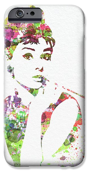 Watercolors Paintings iPhone Cases - Audrey Hepburn 2 iPhone Case by Naxart Studio