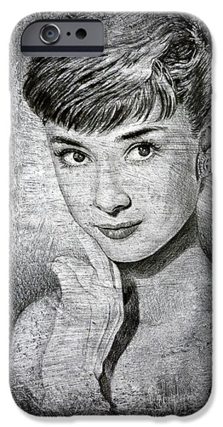 Youthful iPhone Cases - Audrey Hepburn iPhone Case by Andrew Read