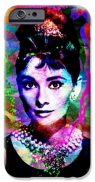 At Poster Mixed Media iPhone Cases - Audrey Hepburn Art iPhone Case by Ryan RockChromatic