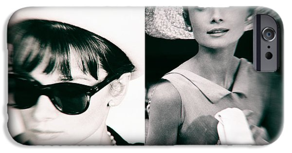 1950s Portraits Digital iPhone Cases - Audrey Hepburn in black and white iPhone Case by Nomad Art And  Design