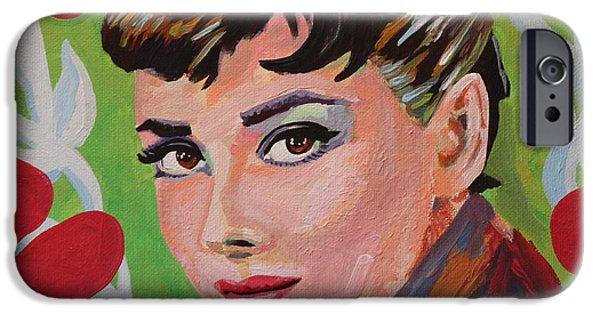 1950s Movies iPhone Cases - Audrey Hepburn Portrait iPhone Case by Robert Yaeger