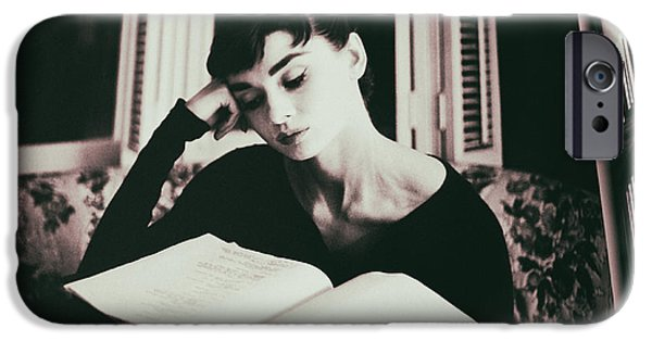 1950s Portraits Digital iPhone Cases - Audrey Hepburn Reading a Book iPhone Case by Nomad Art And  Design