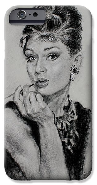 Icons Drawings iPhone Cases - Audrey Hepburn iPhone Case by Ylli Haruni