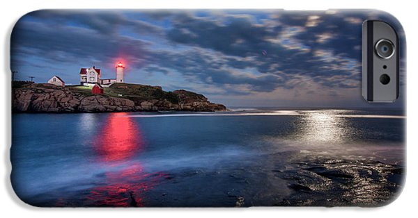 Nubble Lighthouse iPhone Cases - August Moon iPhone Case by Scott Thorp