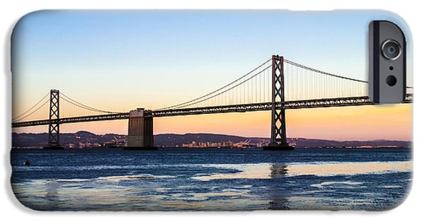 Ocean Sunset iPhone Cases - August Sunset over the Bay Bridge iPhone Case by Brooks Creative -Photography and Artwork By Anthony Brooks