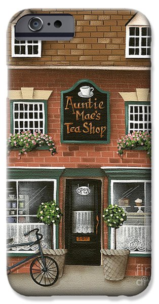 Store Fronts iPhone Cases - Auntie Maes Tea Shop iPhone Case by Catherine Holman