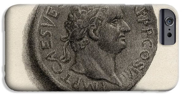 Flavius iPhone Cases - Aureus Coin From The Era Of Titus iPhone Case by Vintage Design Pics