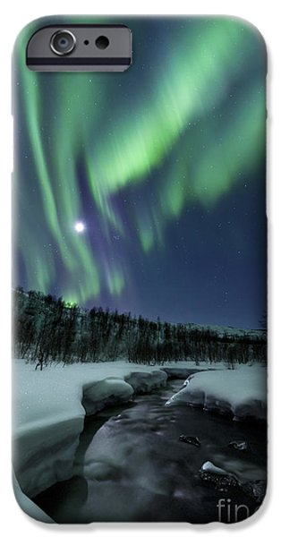 Northern Lights iPhone Cases - Aurora Borealis Over Blafjellelva River iPhone Case by Arild Heitmann