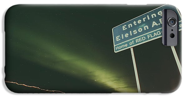 Snowy Night iPhone Cases - Aurora Borealis Over Eielson A F B iPhone Case by U S A F