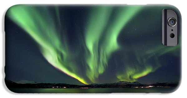 Seascape iPhone Cases - Aurora Borealis Over Tjeldsundet iPhone Case by Arild Heitmann