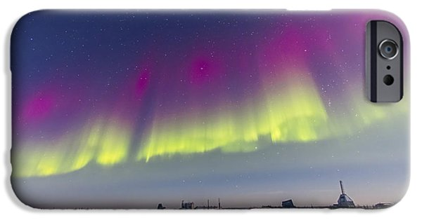 Nature Study iPhone Cases - Aurora Borealis Seen From Churchill iPhone Case by Alan Dyer