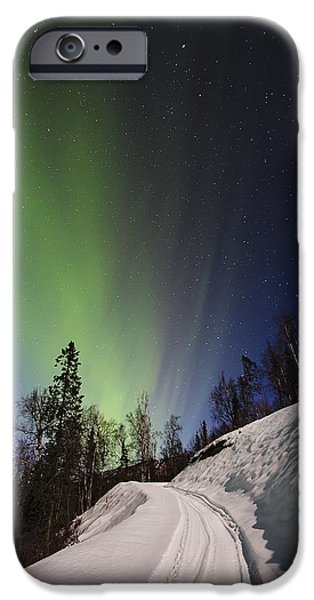 Winter Scene iPhone Cases - Aurora Rising iPhone Case by Ed Boudreau