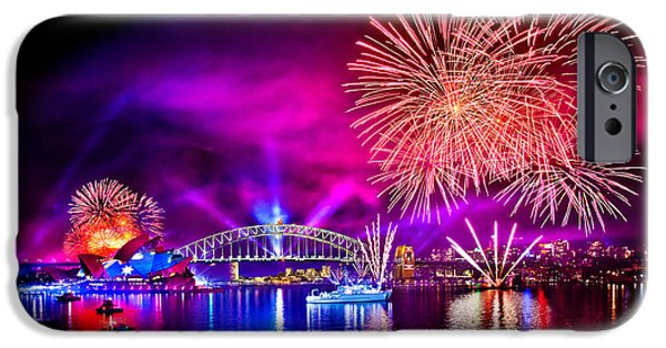 Fireworks Photographs iPhone Cases - Aussie Celebrations iPhone Case by Az Jackson