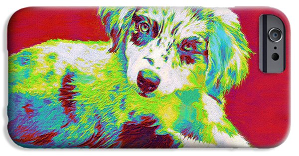 Puppies Digital Art iPhone Cases - Aussie Puppy iPhone Case by Jane Schnetlage