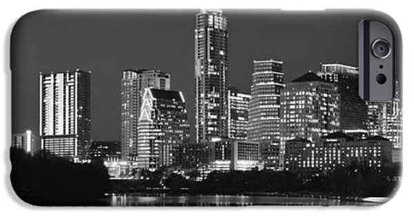 City Scene iPhone Cases - Austin Skyline at Night Black and White BW Panorama Texas iPhone Case by Jon Holiday